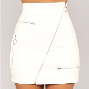 Fashion Nova - White Leather Skirt